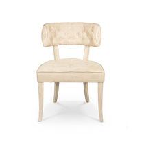 Contemporary dining chair / upholstered / velvet / white