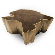 Contemporary coffee table / walnut / wood veneer / brass