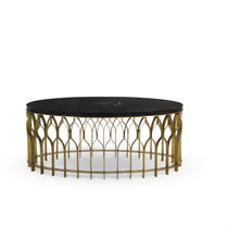 Contemporary coffee table / brushed brass / marble / oval