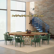 Contemporary dining table / oak / stained wood / brass