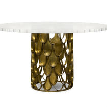 Contemporary dining table / brass / acrylic / round