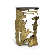 Original design side table / glass / brass / round