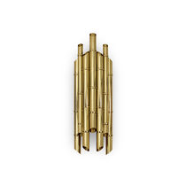 Contemporary wall light / gold-plated brass / halogen / tubular