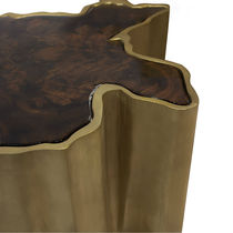 Contemporary side table / walnut / wood veneer / brass
