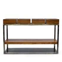 Contemporary sideboard table / wood veneer / palisander / brushed brass