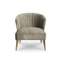 Contemporary armchair / velvet / gray