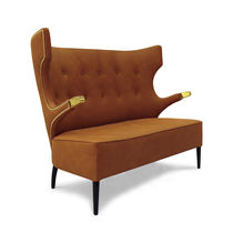 Contemporary sofa / synthetic leather / 2-seater / high back