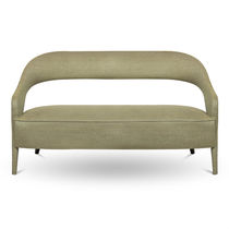 Contemporary sofa / fabric / lacquered wood / contract