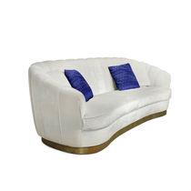 Contemporary sofa / velvet / brass / 3-seater