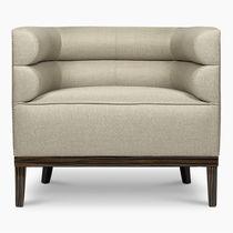 Contemporary armchair / fabric / ebony / gray