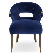 Contemporary dining chair / upholstered / with armrests / velvet