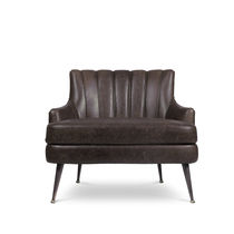 Contemporary fireside chair / leather / brass / brown
