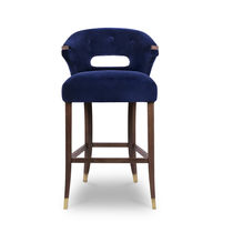 Contemporary bar chair / upholstered / ash / synthetic leather