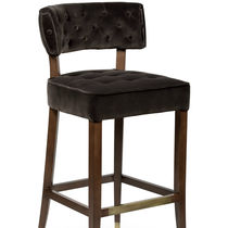 Contemporary bar chair / upholstered / with footrest / velvet