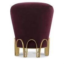 Contemporary stool / velvet / brass