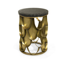 Contemporary side table / brushed brass / marble / round