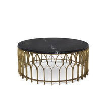 Contemporary coffee table / brushed brass / marble / round