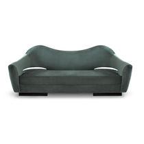 Contemporary sofa / velvet / wenge / 2-seater