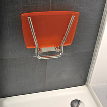 Folding shower seat / stainless steel / wall-mounted