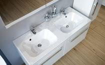 Double washbasin / built-in / rectangular / composite