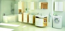 Wall-hung washbasin cabinet / MDF / contemporary / with mirror