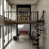 Mezzanine / glass / steel / solid wood