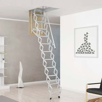 Retractable ladder / steel / accordion protection