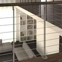 Indoor railing / glass / stainless steel / wooden