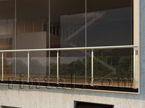 Glass railing / steel / with panels / outdoor