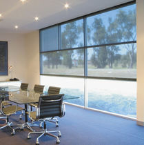 Roller blind fabric / solar protection / plain / PVC-coated