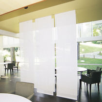 Solar protection fabric / for roller blinds / plain / PVC-coated