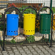 Public trash can / galvanized steel / recycling