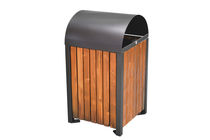 Public trash can / metal / wooden / contemporary