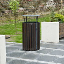 Public litter bin / floor-mounted / wooden / stainless steel