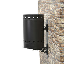 Public trash can / wall-mounted / galvanized steel / traditional