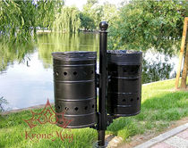 Public trash can / built-in / cast iron / contemporary