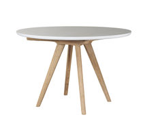 Contemporary dining table / concrete / teak / round