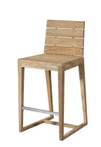 Contemporary bar chair / with footrest / walnut / outdoor