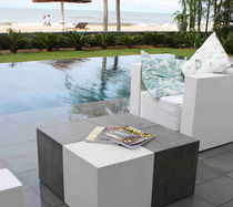 Contemporary coffee table / concrete / cube / garden