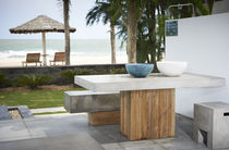 Contemporary table / concrete / rectangular / outdoor