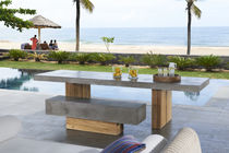 Contemporary bench and table set / teak / concrete / garden