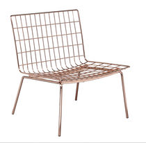 Contemporary armchair / copper-coated steel / extra-wide / outdoor