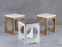 Contemporary stool / solid wood / teak / concrete