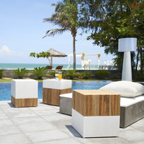 Contemporary stool / teak / concrete / outdoor