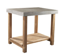 Contemporary high bar table / concrete / solid wood / teak