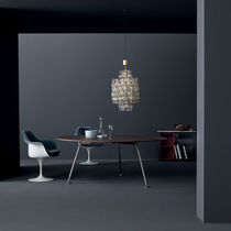 Contemporary dining table / wooden / glass / metal