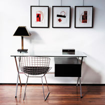 Steel desk / glass / contemporary / with storage
