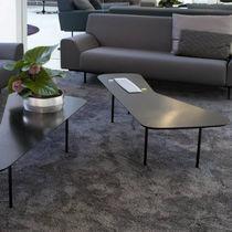 Contemporary coffee table / oak / walnut / steel