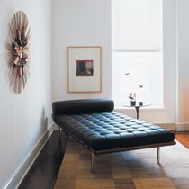 Contemporary daybed / leather / steel / indoor