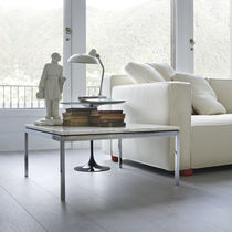 Contemporary coffee table / glass / steel / marble